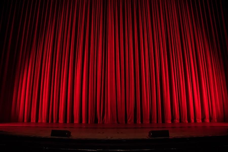 clean theater velvet curtains